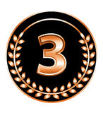 Number three medal Stock Image