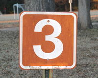 Number Three. Number 3 or Three orange and white sign Stock Photos
