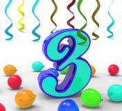 Number Three Party Means Colourful Royalty Free Stock Photos