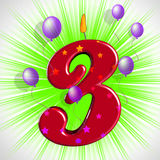 Number Three Party Shows Colourful Birthday Candles Stock Photo