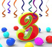 Number Three Party Shows Creativity And Multi Stock Images