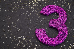 Number three purple color over a black background. Anniversary vector illustration