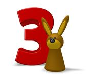 Number three and rabbit Royalty Free Stock Images
