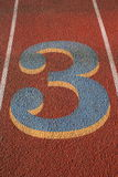 Number Three on a Running Lane Royalty Free Stock Images