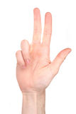 Number three in sign language Stock Image