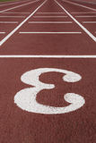 Number three signpost in a athletic running track Stock Image
