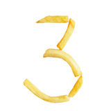 Number three 3 symbol is made of French fries Stock Photo