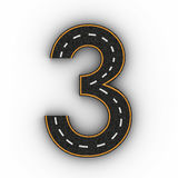 Number three symbols of the Figures in the form of a road with white and yellow line markings 3d rendering Stock Photos