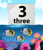 Number three and three fish underwater Stock Photography