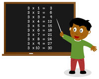 Number Three Times Table on Blackboard royalty free stock image