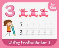 Number three tracing alphabet worksheets royalty free illustration