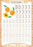 Number 3. Three Tracing Worksheet. Orange Peach fruit. Preschool worksheet, practicing motor skills - tracing dashed. Lines. A4 orange. Vector royalty free illustration
