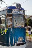 Number Three tram, Antalya. ANTALYA, TURKEY - AUGUST 18, 2014: Driver of a number three tram preparing to set off from the centre of Antalya old town, Turkey Stock Photos