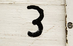 Number three in wood Royalty Free Stock Image
