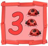 Number three on wooden banner vector illustration