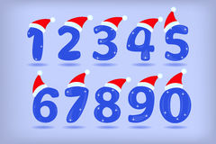 Number from 0 to 9 with santa hat isolated. Royalty Free Stock Photo