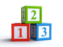 Number toy blocks. 3d rendering of number toy blocks over the white background Royalty Free Stock Photography