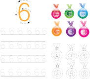 Number Tracing Worksheet four, 0-9 Royalty Free Stock Photography