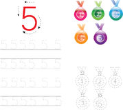 Number Tracing Worksheet four, 0-9 Royalty Free Stock Images