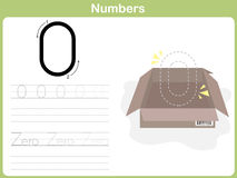 Number Tracing Worksheet: Writing 0-9 vector illustration