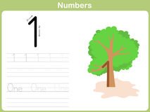 Number Tracing Worksheet: Writing 0-9 Royalty Free Stock Images