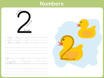 Number Tracing Worksheet: Writing 0-9 Stock Photos
