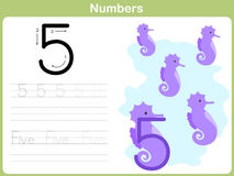 Number Tracing Worksheet: Writing 0-9 Royalty Free Stock Photos