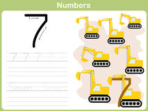Number Tracing Worksheet: Writing 0-9 Stock Photography