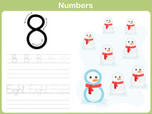 Number Tracing Worksheet: Writing 0-9 Royalty Free Stock Photography