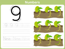 Number Tracing Worksheet: Writing 0-9 stock illustration