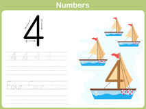 Number Tracing Worksheet: Writing 0-9. Worksheet Number Tracing : Writing 0-9 Stock Photography