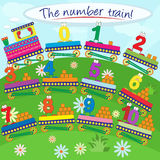The number train. Number train illustration with funny numbers and squares to be counted Stock Photos