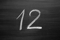 Number twelve enumeration written with a chalk Royalty Free Stock Photography