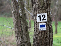 Number Twelve. Marks for Hikers indicating the direction royalty free stock photography