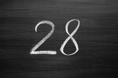 Number twenty eight enumeration written with a chalk Royalty Free Stock Images