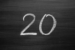 number twenty enumeration written with a chalk Royalty Free Stock Images