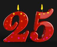 Number Twenty Five Candles Show Burning Stock Photo