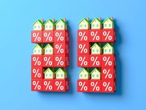 Number Twenty Five With Miniature Houses And Red Percentage Blocks. 3d Illustration royalty free illustration