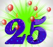 Number Twenty Five Party Show Burning Candles Or Bright Flame stock illustration