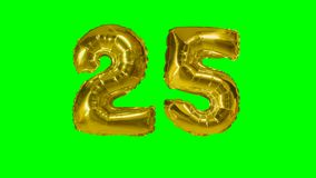 Number 25 twenty five years birthday anniversary golden balloon floating on green screen -. Number 25 twenty five years birthday anniversary golden balloon stock video