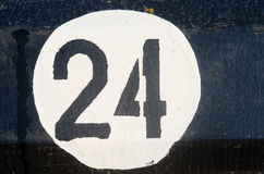 Number twenty four on the metall plate Royalty Free Stock Photos
