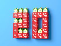 Number Twenty With Miniature Houses And Red Percentage Blocks. 3d Illustration royalty free illustration
