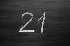 Number twenty one enumeration written with a chalk Stock Photography