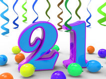 Number Twenty One Party Means Colourful And Royalty Free Stock Photography