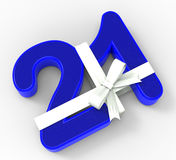 Number Twenty One With Ribbon Shows Creative Royalty Free Stock Images