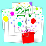Number Twenty One Surprise Box Displays Birthday Celebration Or Stock Images