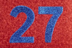 Number twenty-seven blue color over a red background. Anniversar. Y. Horizontal Stock Photos