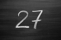 Number twenty seven enumeration written with a chalk Stock Photo