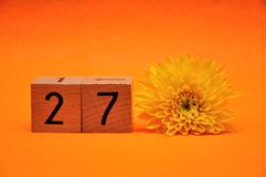 Number twenty seven with a yellow daisy. On an orange background stock photos