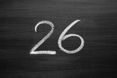 Number twenty six enumeration written with a chalk Royalty Free Stock Photos